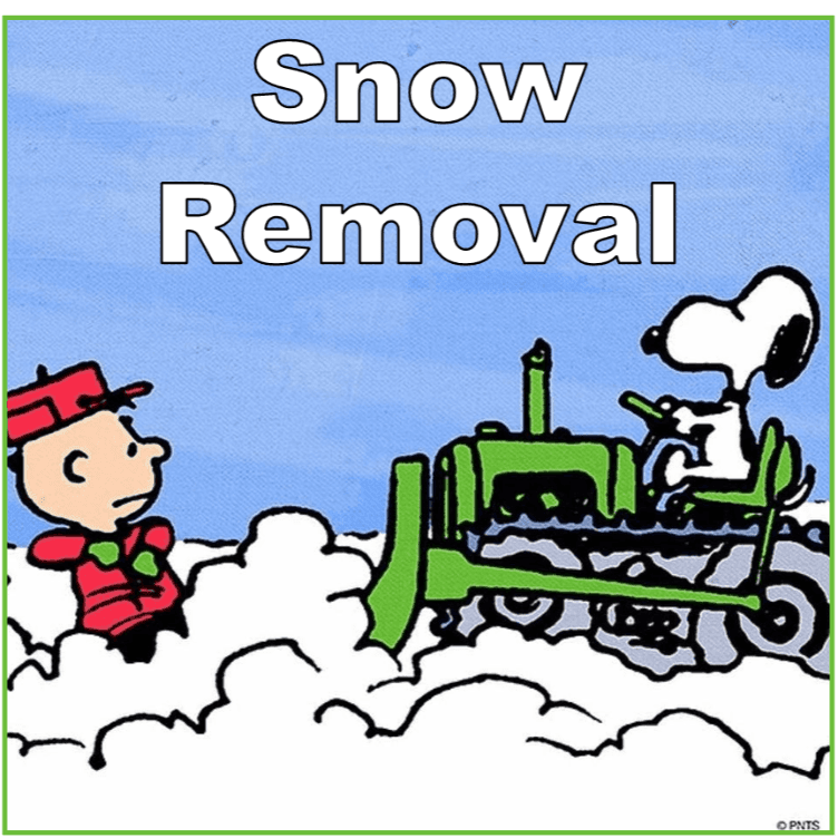 Snoopy driving a snow plow heading for Charlie Brown