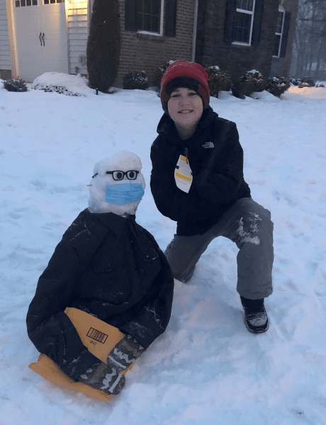 Bernie Sanders Snowman and boy