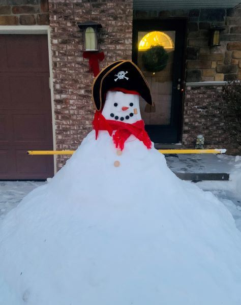 Snowman with a Pirate hat