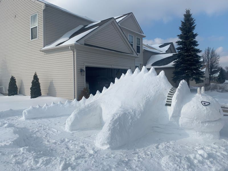A huge snow dinosaur