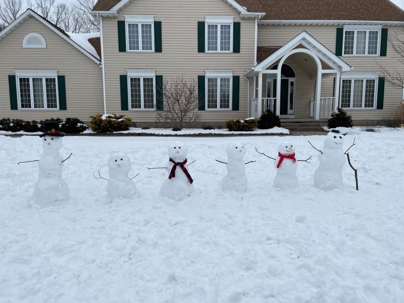 A snowman family with six snowman