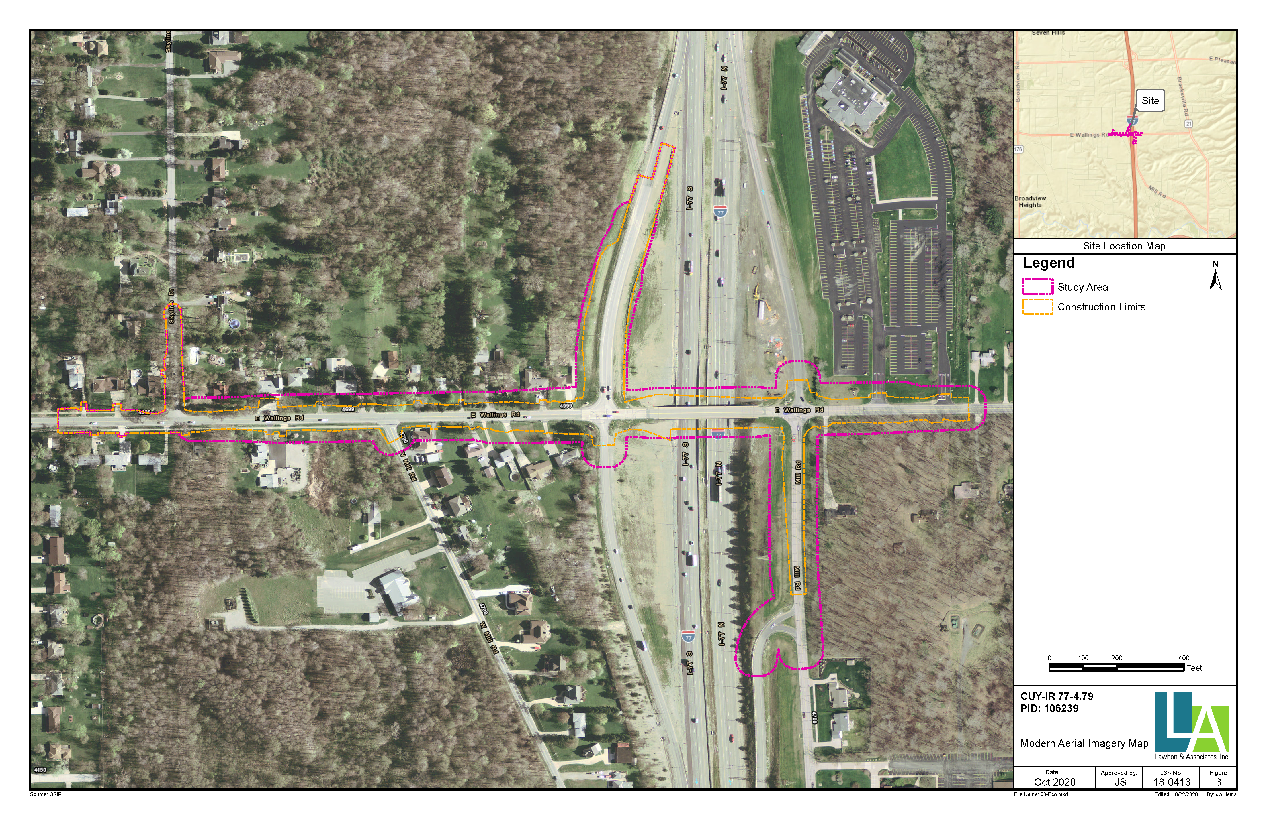 Aerial Map of Wallings Rd for Bridge Improvement
