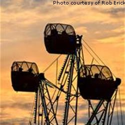 Carnival ride at sunset at Broadview Heights Home Days