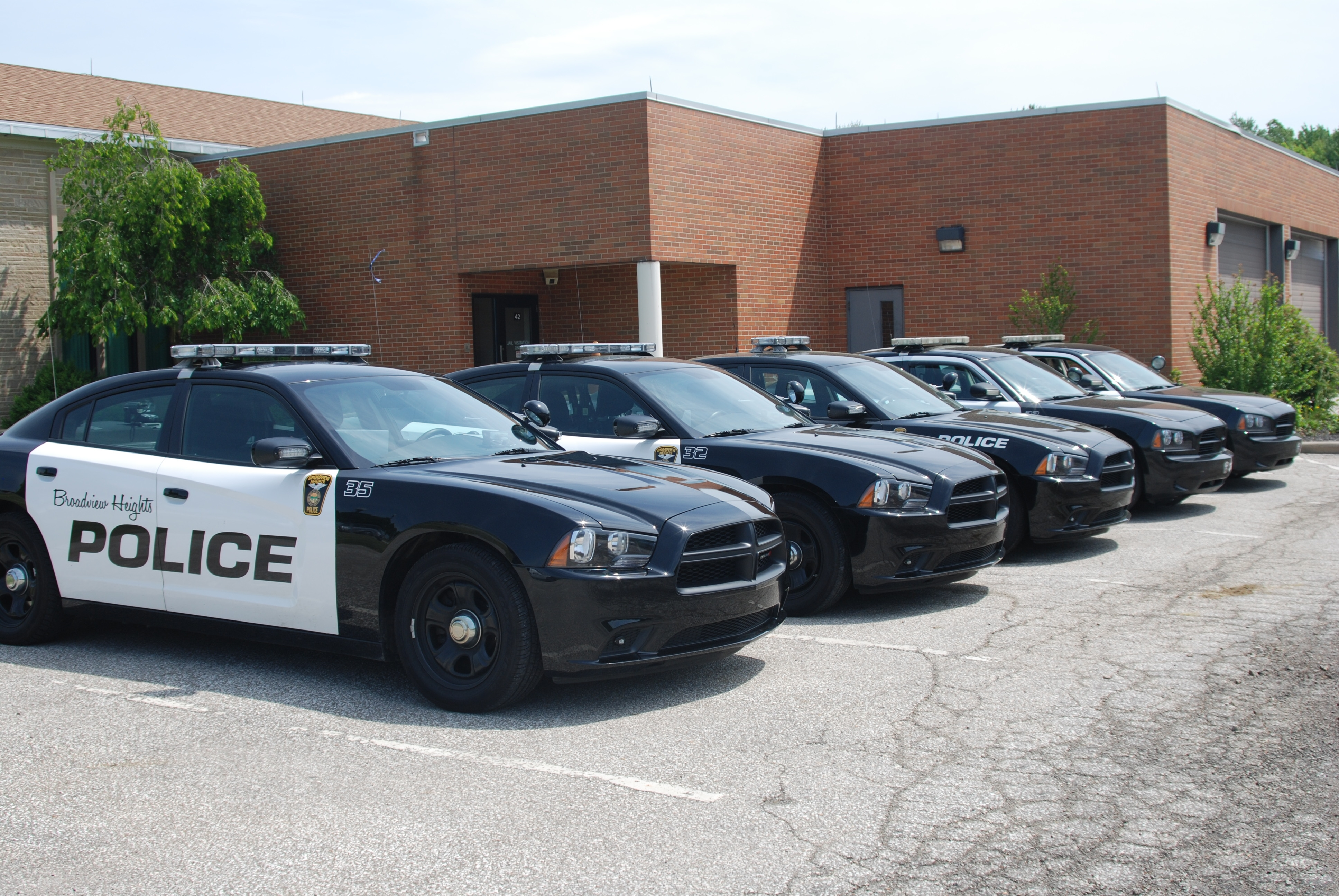 Vehicles in front of the Broadview Heights Police Department